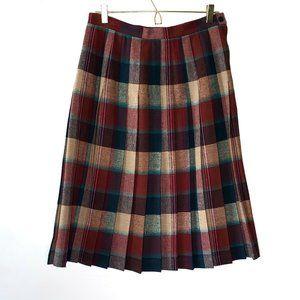 Vintage Plaid Pleated Midi Skirt SZ L